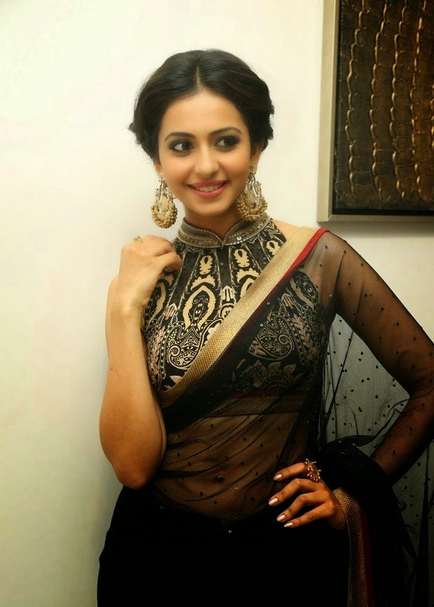 Tollywood Spicy Girl Rakul Preet Singh Navel Show Photos In Traditional Black Saree