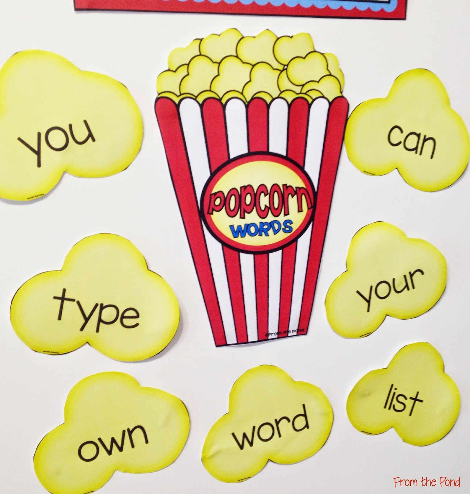 Editable Popcorn Words Wall for Sight Words | From the Pond