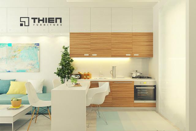 Thiết kế tủ bếp cho căn hộ mang phong cách Retro