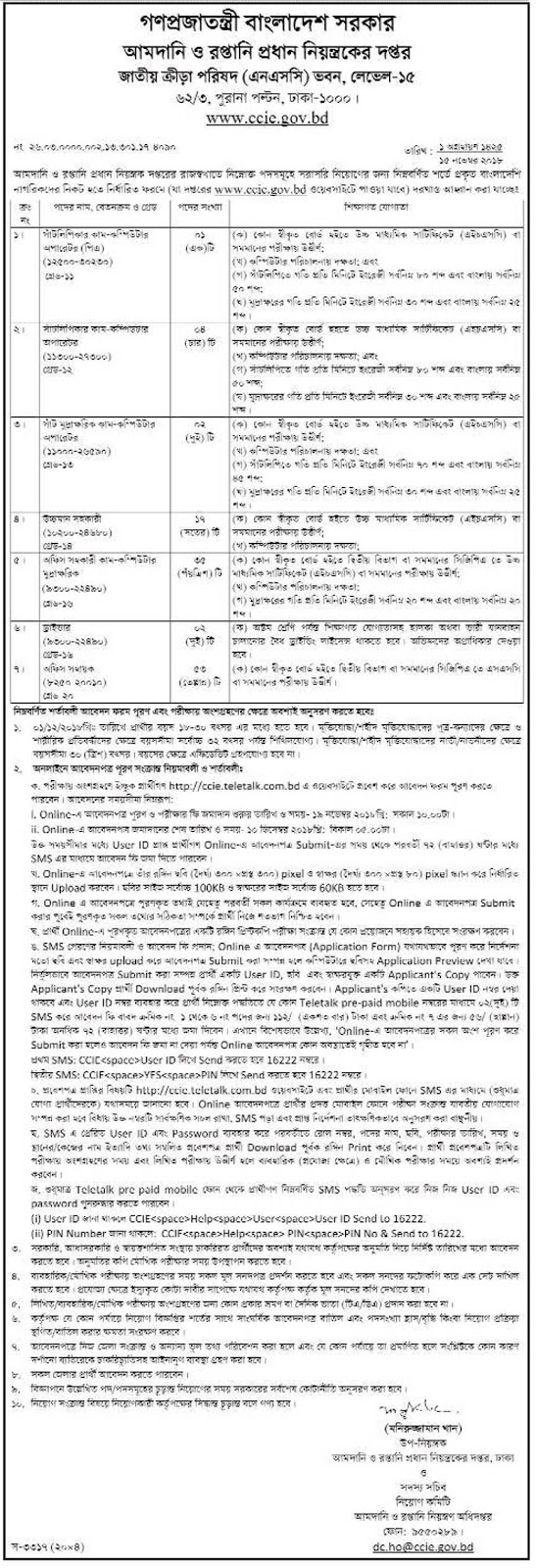 Chief Controller of Imports and Exports (CCIE) Job Circular 2018