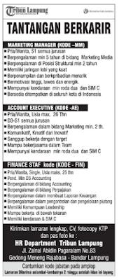 Bursa Lowongan Kerja Lampung di Tribun Lampung Juni 2016 Terbaru