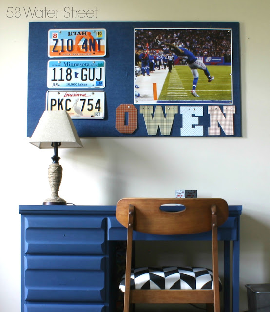 license plate decor, blue desk, football poster