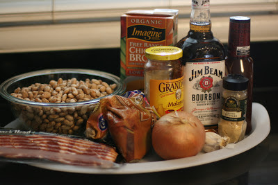 these are the ingredients you use to make crockpot slow cooker bourbon baked beans. Gluten free and absolutely delicious!