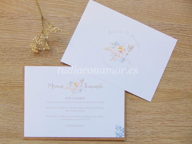 Invitaciones de boda de estilo vintage con un toque shabby chic bonito y romántico