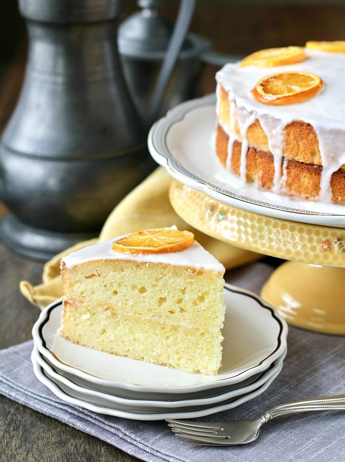English Madeira Cake with a lemon glaze and candied lemons on top