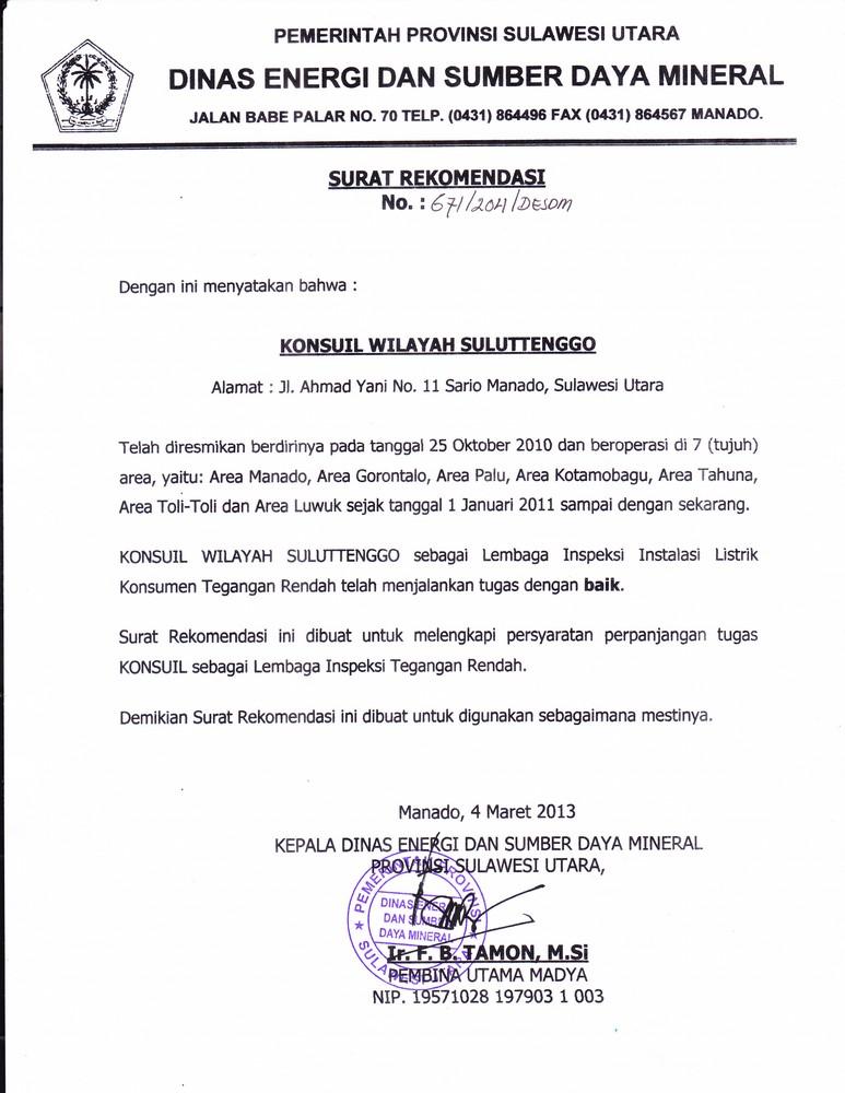 Konsuil Beberapa Surat Rekomendasi Dari Kepala Dinas Esdm Provinsi