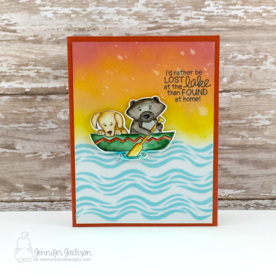 Lost at the Lake card by Jennifer Jackson | Winston's Lake House Stamp Set & Waves Stencil by Newton's Nook Designs #newtonsnook