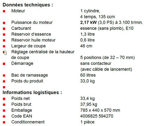 Caractéristiques techniques Einhell GH-PM 46/1