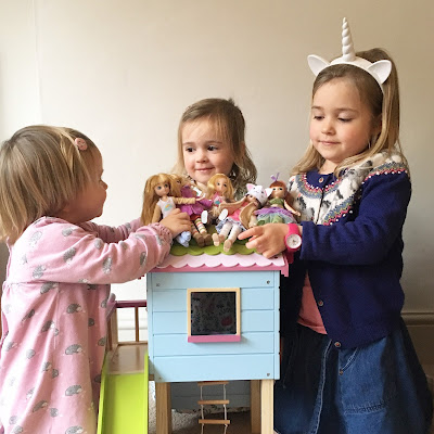 My three girls playing with their Lottie Dolls together
