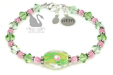 Peridot Pink Rose Floral Artbead Crystal Mom Charm Bracelet (B087)
