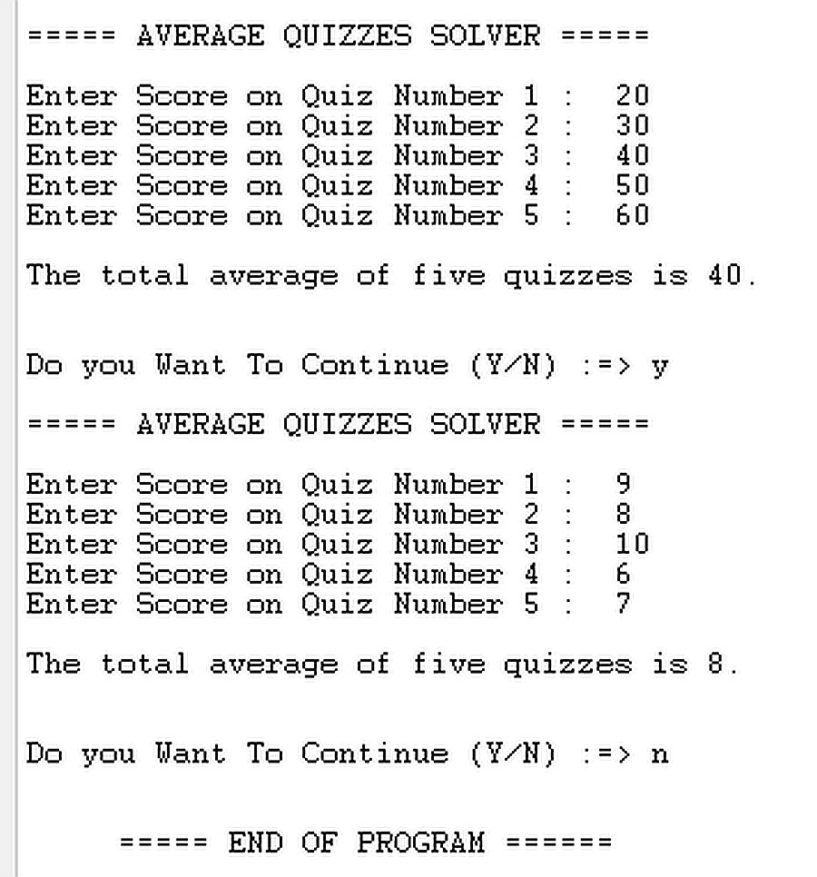 Free Programming Source Codes To All: Average Quizzes Solver in Java