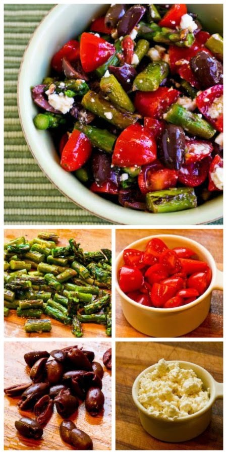 Salad with Asparagus, Cherry Tomatoes, Kalamata Olives, and Feta