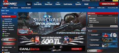 Odeonbet e-sports bahislerine giriş