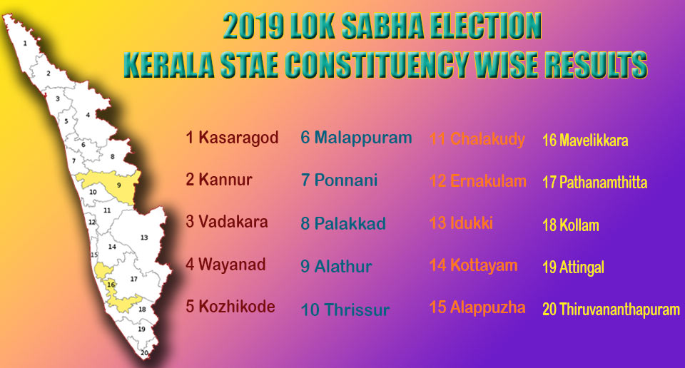 2019 Lok Sabha Election Kerala State Constituencies Wise Results