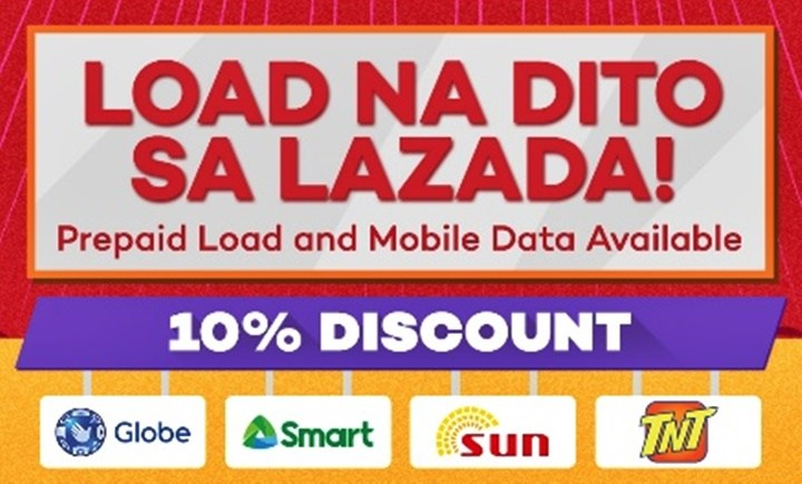 Reload with 10 Percent OFF for SMART, TNT, GLOBE, and SUN Cellular