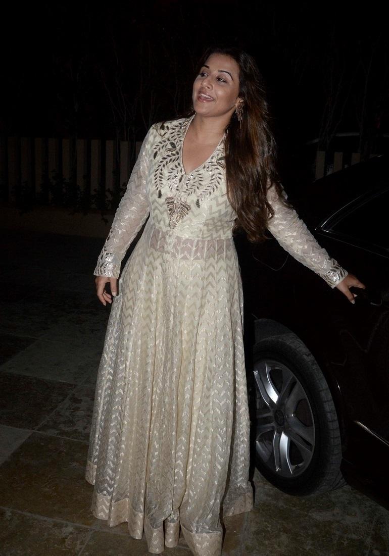 Film Actress Vidya Balan Long hair In White Dress