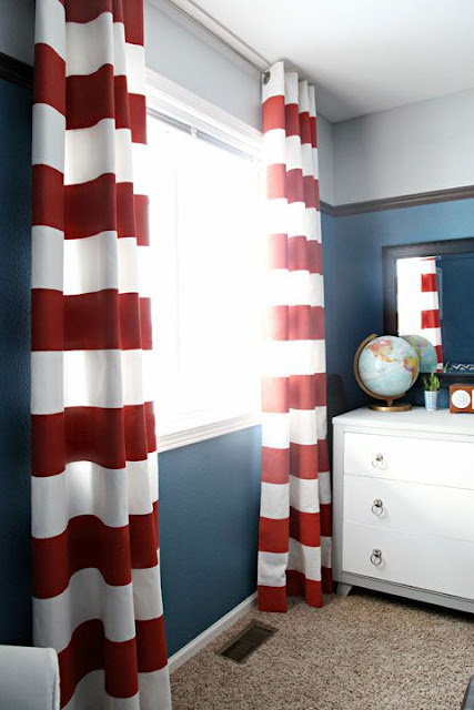 beautiful white and red striped curtains ideas