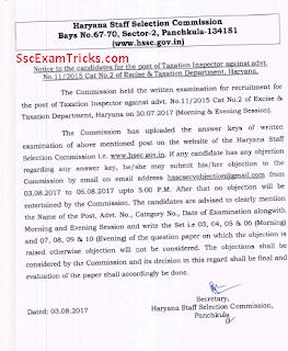 HSSC Taxation Inspector Answer Keys