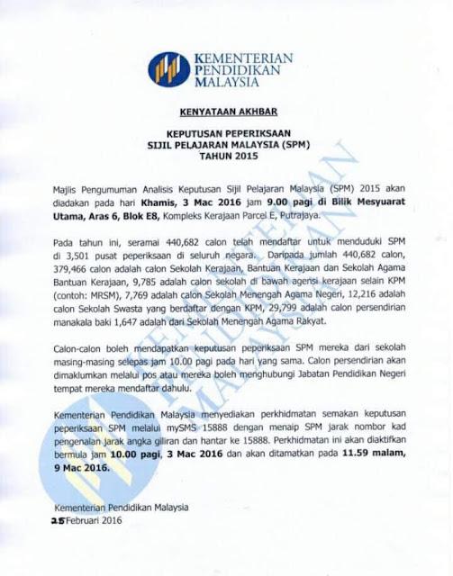 pengumuman keputusan peperiksaan SPM
