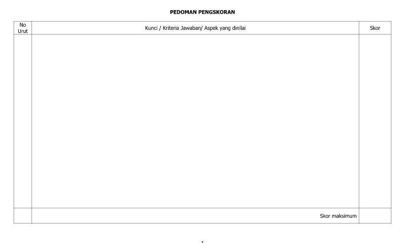 Contoh Bentuk Pedoman Penilaian Skor - Lembar Pertama dalam Administrasi Guru Sekolah Format Ms. Word (doc/docx)