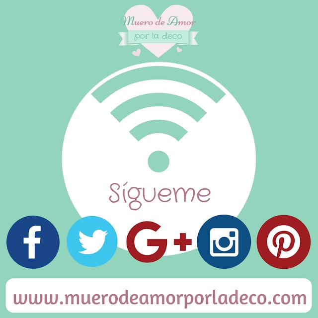 Redes Sociales del Blog de decoración Muero de Amor por la Deco