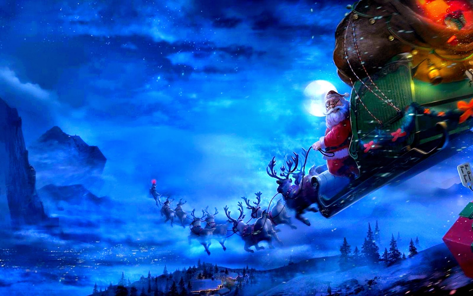 Santa Claus Riding His Sleigh Reindeer At Night