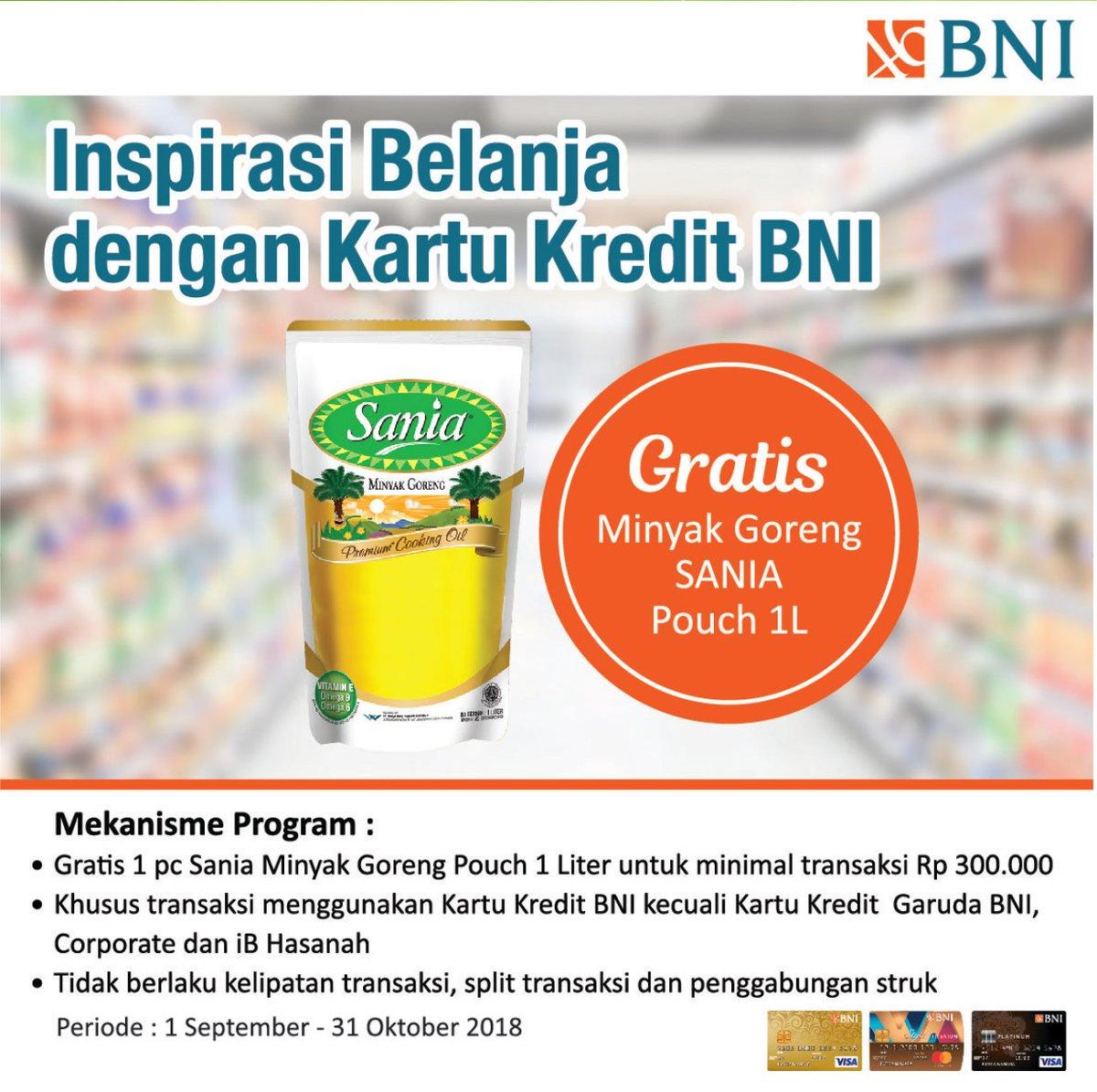 Bank BNI - Promo Belanja Pakai Kartu Kredit BNI Gratis Sania Minyak Goreng 1 L