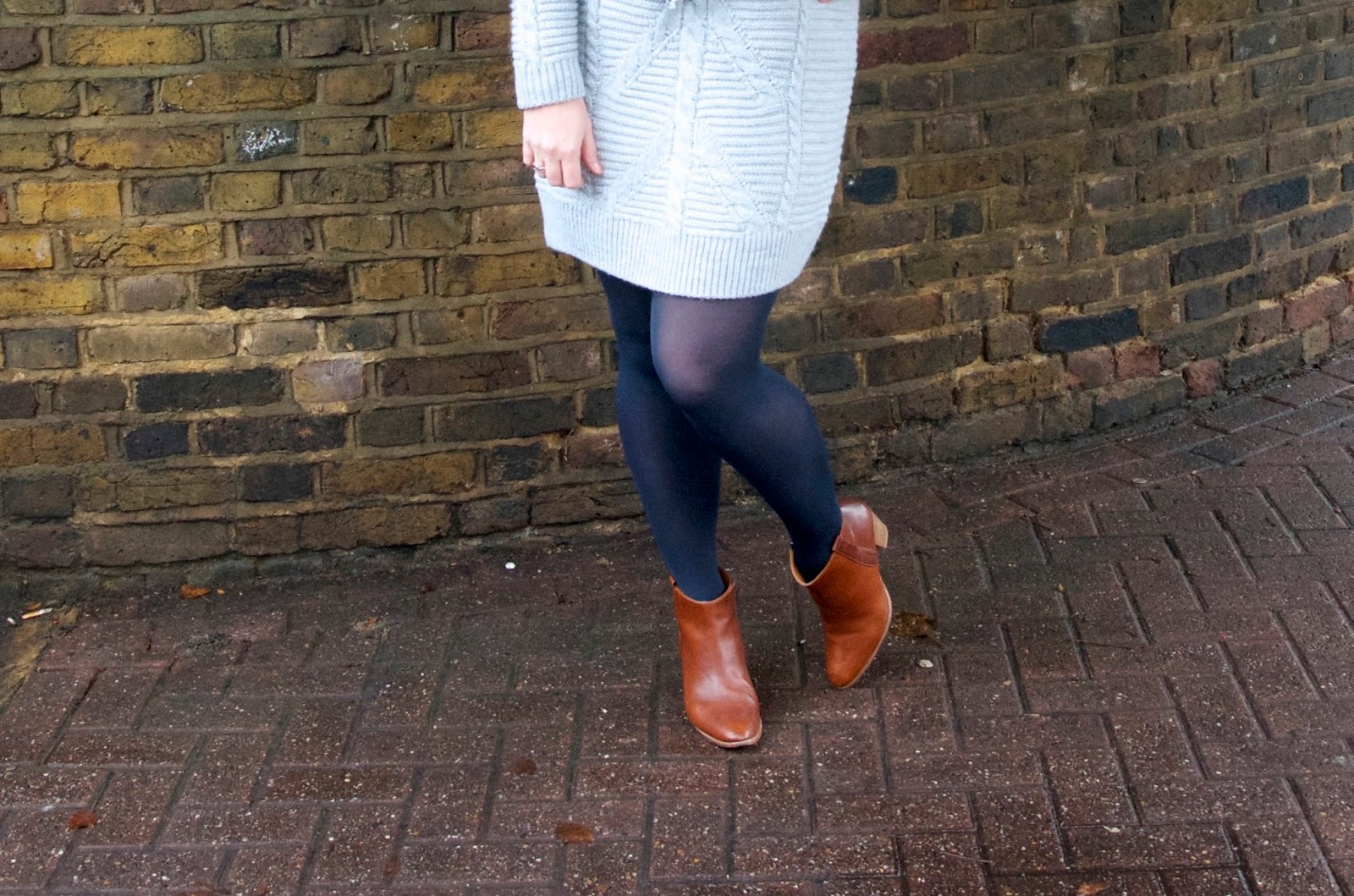 navy tights and brown boots