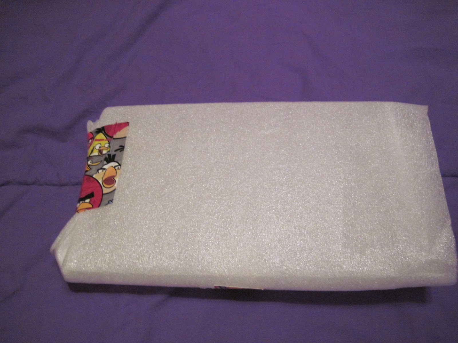 foam sleeve for book, with 'Angry Birds' tape