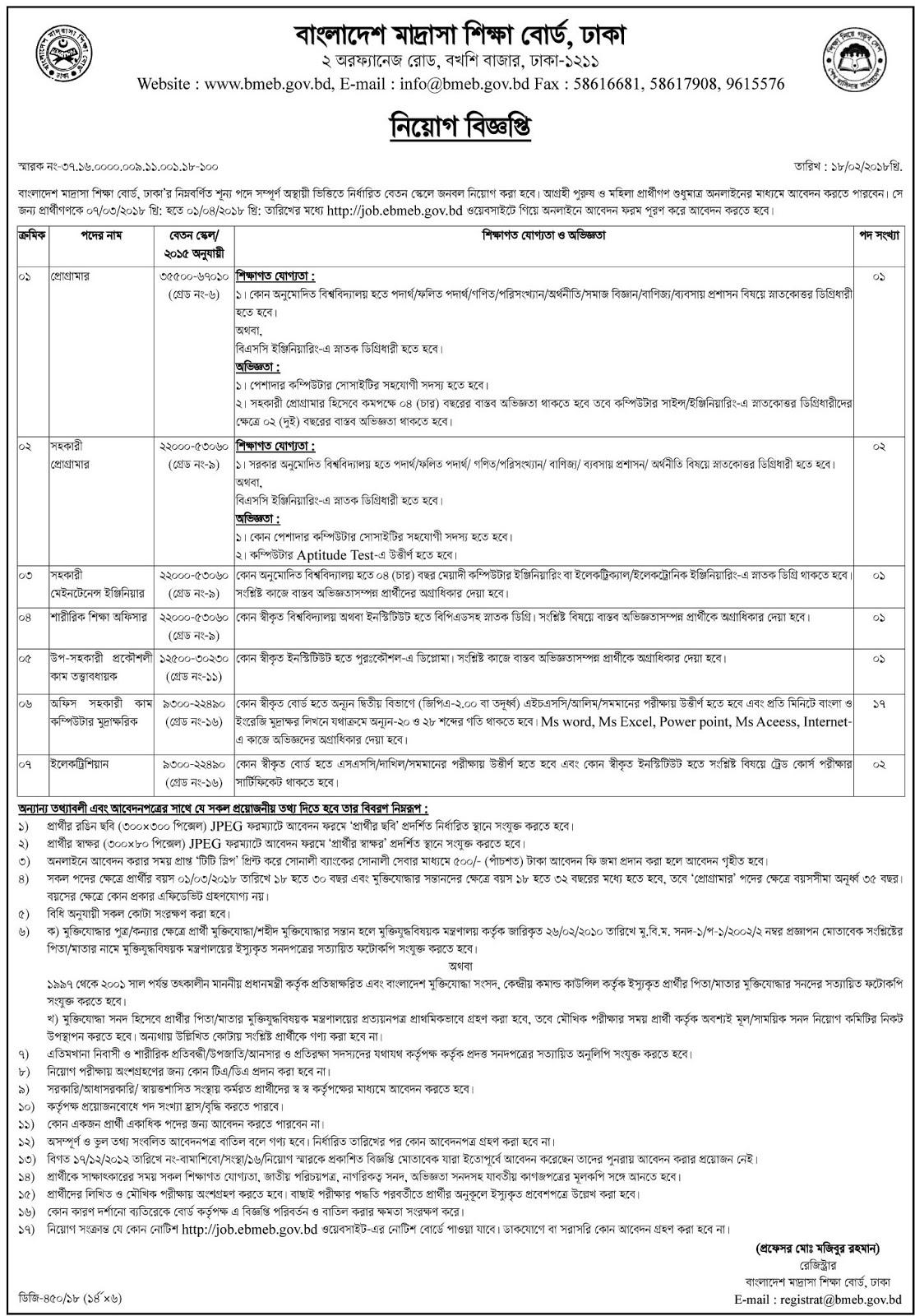 Bangladesh Madrasah Education Board (BMEB) Job Circular 2018