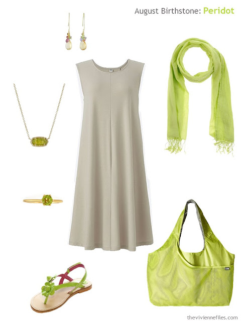 beige dress with peridot accessories