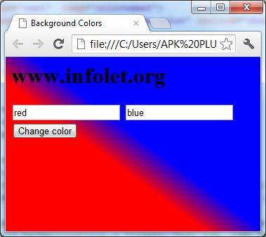 gradient more change background color html javasript
