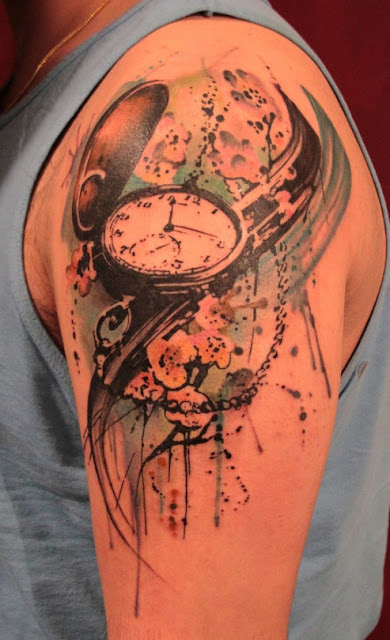 Amazing Watercolor Clock Tattoos