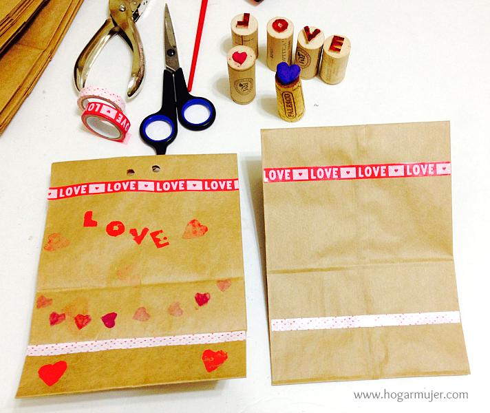 Bositas de papel decoradas para San Valentin