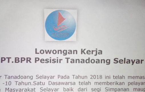 Lowongan Kerja Di PT. BPR, Pesisir Tanadoang Selayar
