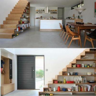Foto de decoración de interiores : Escalera y estantería