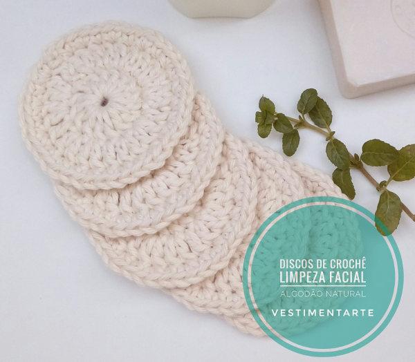 Discos de Crochê para Limpeza Facial e Remoção de Maquiagem-Algodão Ecológico