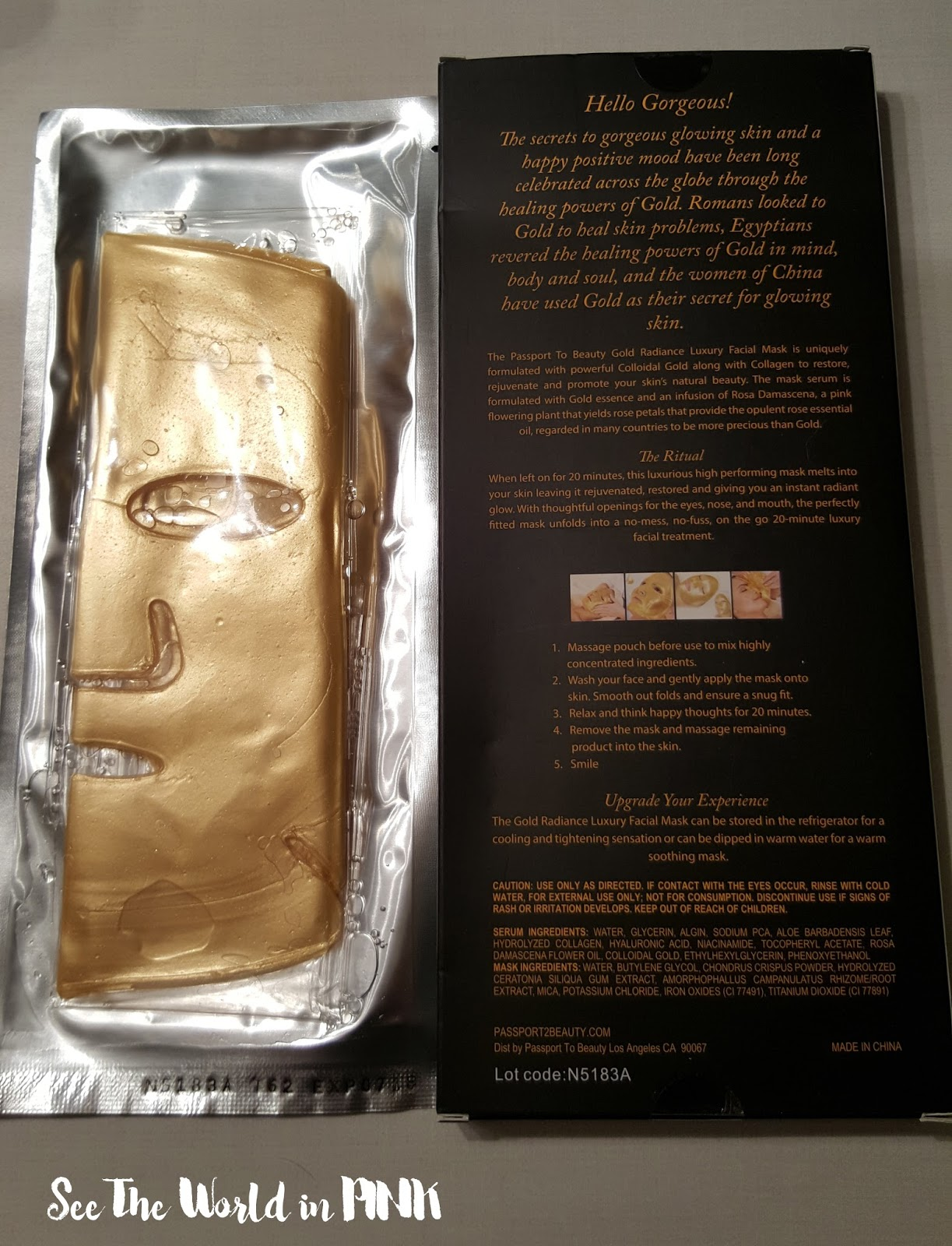 Passport to Beauty - Gold Radiance Luxury Facial Mask with Collagen and Rose Oil