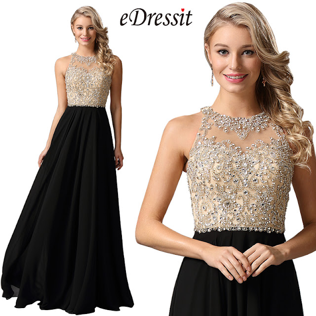 eDressit Halter Neck Beaded Bodice Prom Dress