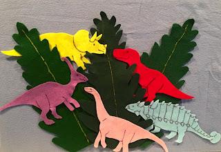 Dinosaur storytime, Five Little Dinosaurs, dinosaur flannel