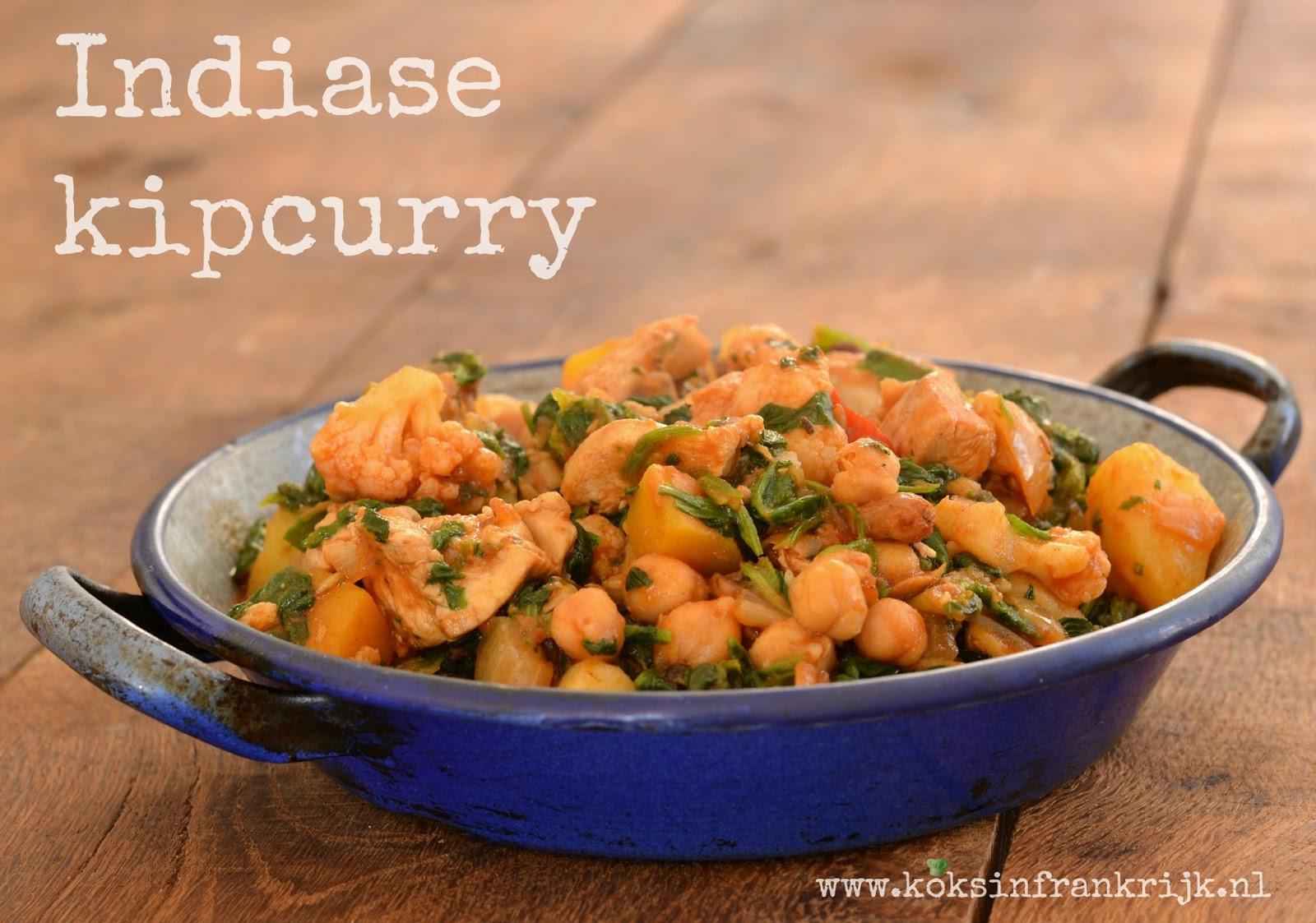 Snelle Indiase curry met kip en spinazie