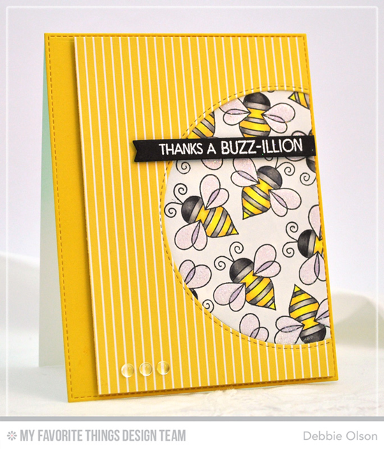 Buzz-illion Thanks Card by Debbie Olson featuring the Lisa Johnson Designs Fly-By Friends stamp set, and the Inside & Out Stitched Circle STAX, Blueprints 15, and Blueprints 27 Die-namics #mftstamps