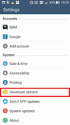 mengaktifkan developer option