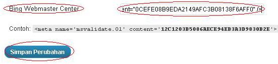 Cara Memasang Meta Tag Bing di WordPress