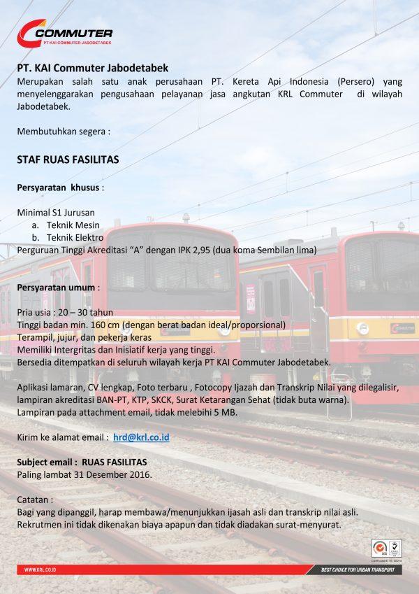 Lowongan Kerja KAI Commuter Jabodetabek Desember 2016 Staf Ruas Fasilitas