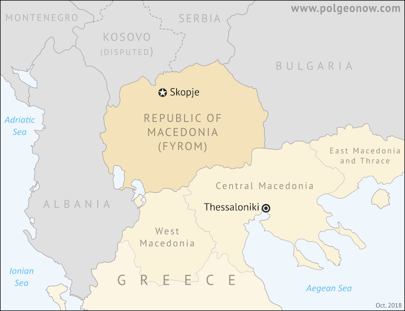 Are there two Macedonias? Where is FYROM located? Where is Macedonia in relation to Greece? Map of Macedonia, including both the controversially-named Republic of Macedonian (FYROM) and the Greek provinces of Macedonia.