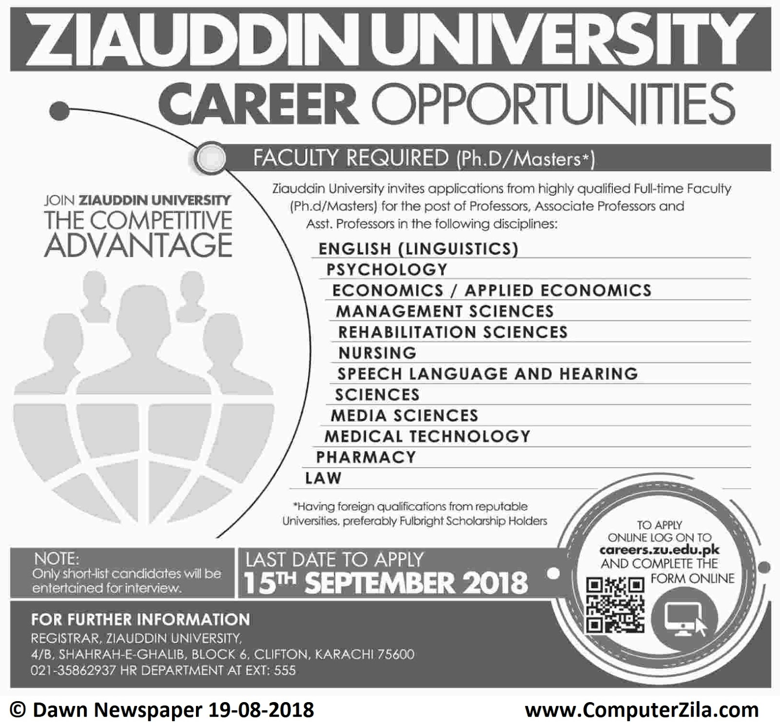 Career Opportunities (Faculty Required) at Ziauddin University