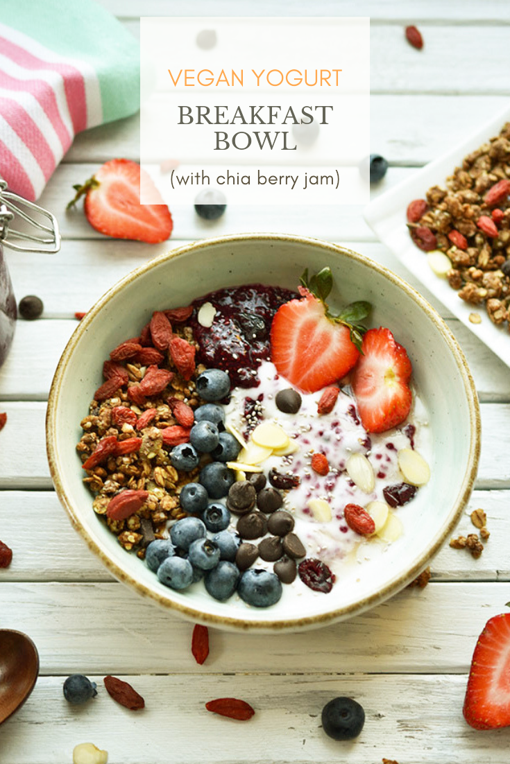 Vegan Yogurt Breakfast Bowl With Chia Berry Jam