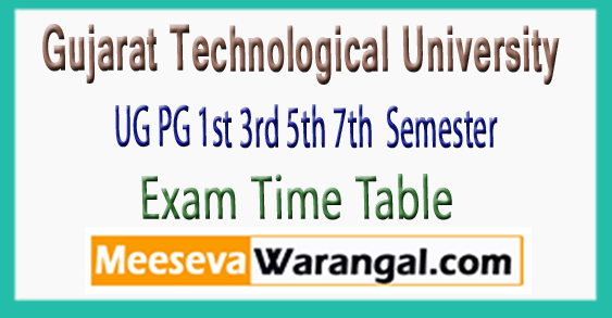 Gujarat Technological University UG PG 1st 3rd 5th 7th Semester Exam Time Table 2017-18