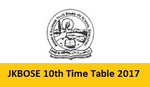 JKBOSE 10th Time Table